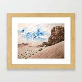 Desert at sunset- Wadi Rum, Jordan in pinks and blues Framed Art Print