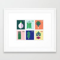 vegetable Framed Art Prints featuring Vegetable Stamps by Christopher Dina