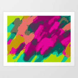 pink green and blue painting abstract background Art Print