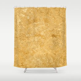 Shiny Textured Gold Foil Shower Curtain