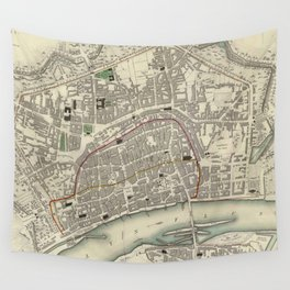 Vintage Map of Frankfurt Germany (1837) Wall Tapestry