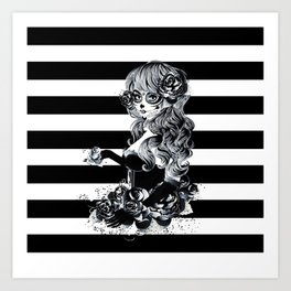 Black & White Sugar Skull Girl Art Print