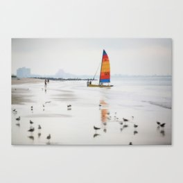 Boat on beach Canvas Print