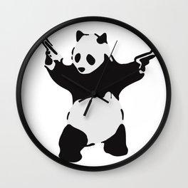 Banksy Pandamonium Armed Panda Artwork, Pandemonium Street Art, Design For Posters, Prints, Tshirts Wall Clock