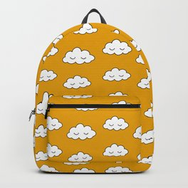 Dreaming clouds in honey mustard background Backpack