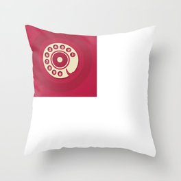 Vintage Red Telephone Throw Pillow