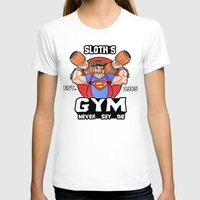 the goonies T-shirts featuring Sloth Gym Funny Goonies Fitness by Workout Quotes