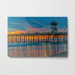 Huntington Beach Water Color Metal Print
