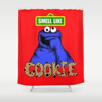 cookie monster Shower Curtains featuring Smell Like Cookie! by Pengew