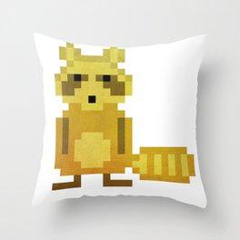 Pixel Racoon Throw Pillow