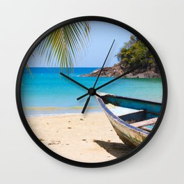 Beautiful Tropical Beach with a Rowboat Wall Clock
