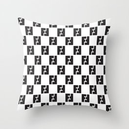 F Check Pillow Throw Pillow