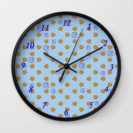 Spiral and golden flowers Wall Clock