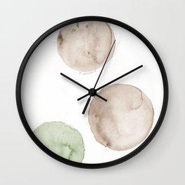 17|181104 Australian Leaf Green & Brown Earth Orbs | Watercolour Circle Abstract Geometrical Wall Clock