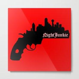 DALLAS SKYLINE NIGHTJUNKIE GUN Metal Print
