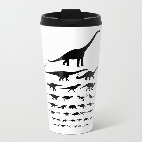Dinosaur Eye Chart (monochrome) Cretaceous and Jurassic periods Metal Travel Mug