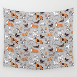 Origami doggie friends // grey linen texture background Wall Tapestry