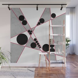 Contemporary Geometric Grey Marble Design Wall Mural