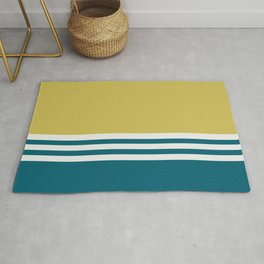 Off White, Dark Yellow and Tropical Dark Teal Inspired by Sherwin Williams 2020 Trending Color Oceanside SW6496 Straight Horizontal Triple Stripe Pattern Rug