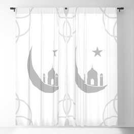 Mosque and crescent moon- symbol of the religion of Islam Blackout Curtain
