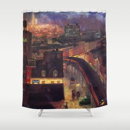 'The City from Greenwich Village' New York City subway cityscape by John French Sloan Shower Curtain