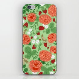Roses and strawberries on green iPhone Skin