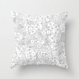 Clockwork B&W / Cogs and clockwork parts lineart pattern Throw Pillow