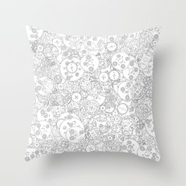 Clockwork B&W / Cogs and clockwork parts lineart pattern Throw Pillow