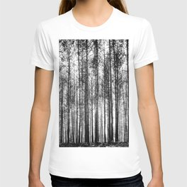 trees in forest landscape - black and white nature photography T-shirt