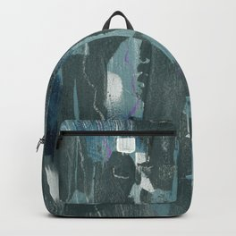 Blue and Green Abstract Acrylic Painting Backpack