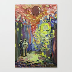 Loneliness under the street light Canvas Print
