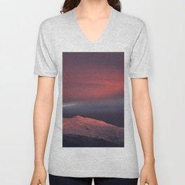 Lenticular clouds over Caballo mountain. Sierra Nevada National Park Unisex V-Neck