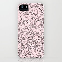 Hand drawn leaves pattern b&w iPhone Case
