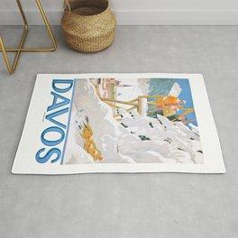 1918 DAVOS Switzerland Winter Sports Poster Rug