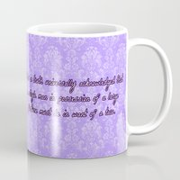 pride and prejudice Mugs featuring Pride and Prejudice and Tacos by mikaelak