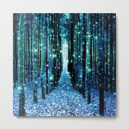 Magical Forest Teal Turquoise Metal Print