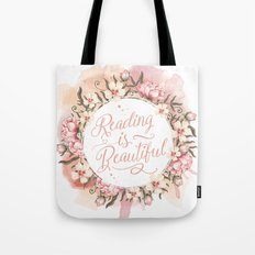 Reading is Beautiful floral wreath Tote Bag