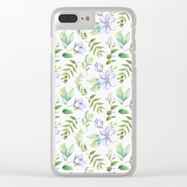 Watercolor lavender lilac green hand painted floral Clear iPhone Case