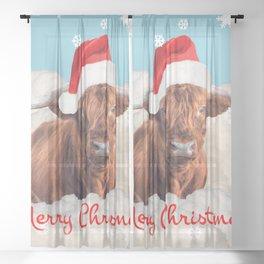 Highland Cow Santa Claus Merry Christmas snow Clouds Sheer Curtain
