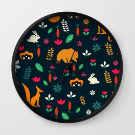 Cute little animals among flowers Wall Clock