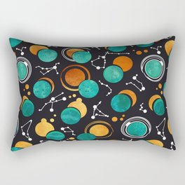 Great Total Solar Eclipse II // turquoise green moons Rectangular Pillow