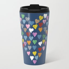 Distressed Hearts Heart Navy Travel Mug