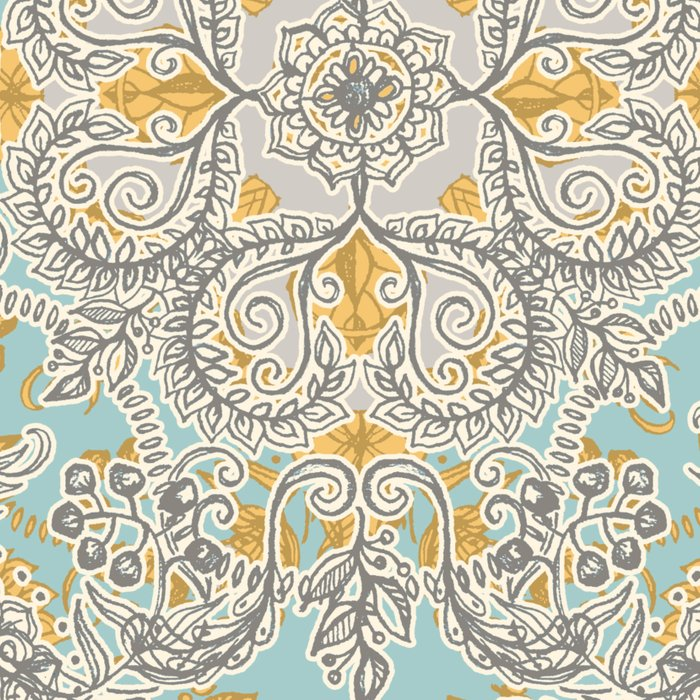 Gypsy Floral in Soft Neutrals, Grey & Yellow on Sage Leggings