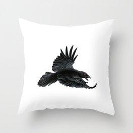 Black Crow Red Eyes Throw Pillow