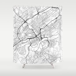 Knoxville Map, USA - Black and White Shower Curtain