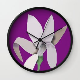 Grey Flower - Abstract on Purple Background Wall Clock