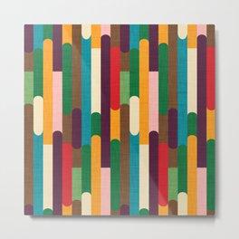 Retro Color Block Popsicle Sticks Metal Print