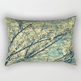 Ivory Blossoms Teal Sky Rectangular Pillow