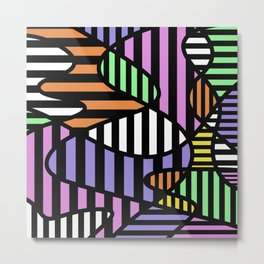 Crazy Curvy Pastel Stripes Metal Print