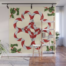 CREAMY YELLOW  RED-WHITE PINK  CHRISTMAS CANDY CANES Wall Mural